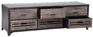 Aubry-Gaspard - meuble tv en métal et bois - Meuble Tv Hi Fi