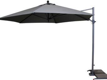 Kettler - parasol déporté hexagonal diamètre 3,5m gris - Parasol Excentré