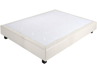 CROWN BEDDING - sommier ressorts chambly simili cuir blanc 140x190 - Sommier Fixe À Ressorts