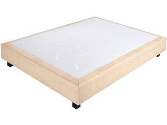 CROWN BEDDING - sommier ressorts chambly tissu beige 140x200 beige - Sommier Fixe À Ressorts