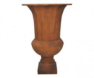 Demeure et Jardin - vase médicis en tôle patine rouille - Vase Medicis