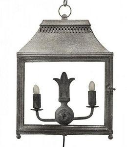 Demeure et Jardin - lanterne double en fer forgé gris à poser - Lanterne D'intérieur