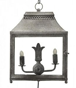 Demeure et Jardin - lanterne double en fer forg� gris � poser - Lanterne D'int�rieur