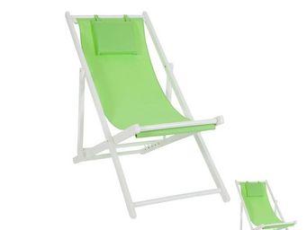 WHITE LABEL - duo de chiliennes pliantes vert - gipsy - l 58 x l - Transat