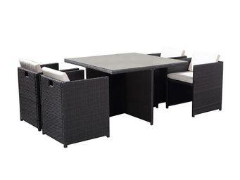 TOUSMESMEUBLES - salon de jardin 4 fauteuils gris - aitutaki - l 11 - Salle � Manger De Jardin