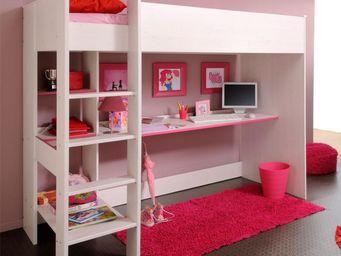WHITE LABEL - lit 90*200 cm bureau et bibliothèque intégrés pin - Lit Mezzanine Enfant