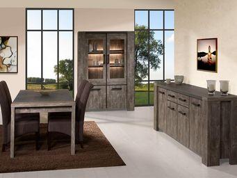 WHITE LABEL - salle à manger complète - robinson - l 190 x l 88 - Salle À Manger
