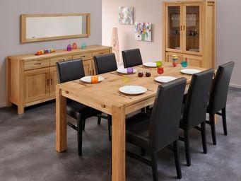 WHITE LABEL - salle à manger complète chêne - thania - l 180 x l - Salle À Manger