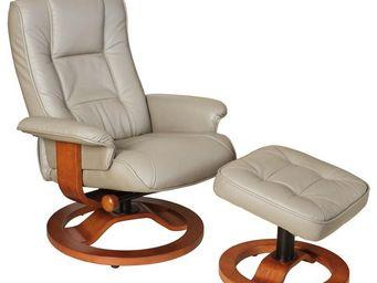WHITE LABEL - fauteuil de relaxation cuir gris - relaxo - l 75 x - Fauteuil De Relaxation