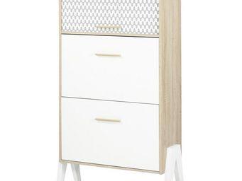 WHITE LABEL - meuble à chaussures à rideau - arkos n°1 - l 80 x - Meuble À Chaussures