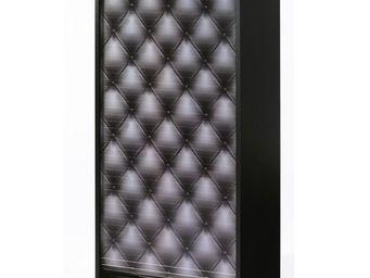 WHITE LABEL - meuble à chaussures à rideau noir - shoes n°7 - l - Meuble À Chaussures
