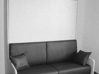 WHITE LABEL - armoire lit space sofa blanc avec canapé tissu end - Armoire Lit