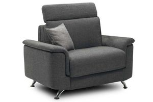 WHITE LABEL - fauteuil empire tweed gris convertible ouverture r - Fauteuil Lit