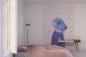 la Magie dans l'Image - grande fresque murale mon petit chien fond rose - Papier Peint Panoramique