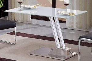 WHITE LABEL - table basse relevable step en verre sérigraphié bl - Table Basse Relevable