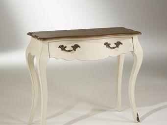 Robin des bois - console plateau chêne, 1 tiroir, couleur blanc d' - Console À Tiroir