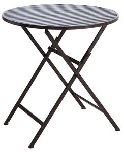 Aubry-Gaspard - table de terrasse pliante marron en métal vieilli - Table De Jardin Pliante
