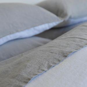MAISON D'ETE - drap plat lin stone washed gris clair - Drap De Lit