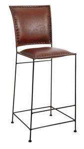 Aubry-Gaspard - tabouret de bar en cuir et métal - Chaise Haute De Bar