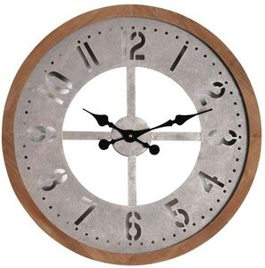 Aubry-Gaspard - horloge ronde en métal vieilli et bois - Horloge Murale