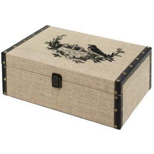 CHEMIN DE CAMPAGNE - coffre boîte de rangement bois toile de jute 34x24 - Malle