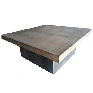 Mathi Design - table basse beton acier duo - Table Basse Carrée