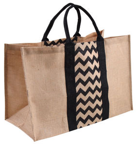 Aubry-Gaspard - sac à bûches en jute plastifiée motifs chevrons - Sac À Buches