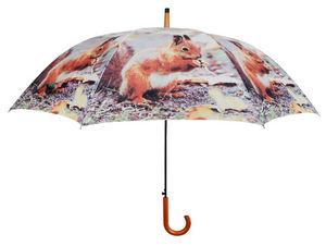 Esschert Design - parapluie ecureuil en nylon et bois écureuil - Parapluie