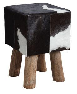 Aubry-Gaspard - tabouret carré en peau de vache - Tabouret