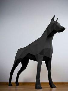 PAPERTROPHY - doberman noir - Sculpture Animalière