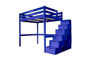 ABC MEUBLES - abc meubles - lit mezzanine sylvia avec escalier cube bois bleu foncé 160x200 - Lit Mezzanine