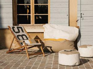 727 SAILBAGS - maxi pouf cuir et lin - Pouf D'extérieur