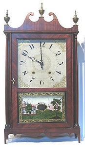 KIRTLAND H. CRUMP - mahogany pillar and scroll shelf clock - Horloge � Poser