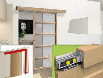 Wimove - systeme coulissant en applique avec bandeau bois f - Motorisation Pour Porte D'intérieur