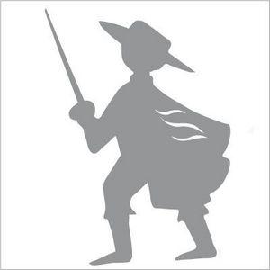 LILI POUCE - sticker zorro gris sticker ombre d'un petit garço - Sticker Décor Adhésif Enfant