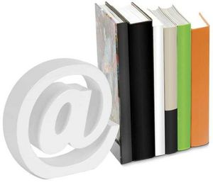 Balvi - serre-livres arobase blanc en bois 18x18x5cm - Serre Livres
