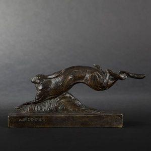 Expertissim - a. v. becquerel. lièvre courant en bronze patiné - Sculpture Animalière
