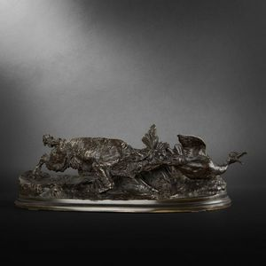 Expertissim - pierre jules mene. bronze chien �pagneul-griffon a - Sculpture Animali�re