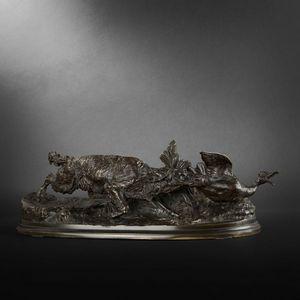 Expertissim - pierre jules mene. bronze chien épagneul-griffon a - Sculpture Animalière