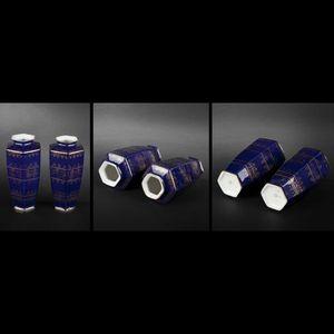 Expertissim - paire de petits vases en porcelaine polychrome - Vase Décoratif