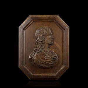 Expertissim - buste de christ en bois du xviie siècle - Médaillon