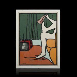 Expertissim - attilio cairati. devant la télévision, 1974 - Tableau Contemporain