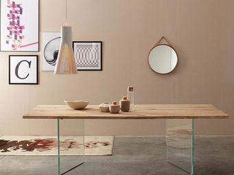 Lawrens - table ch�ne et verre - Table De Repas Rectangulaire