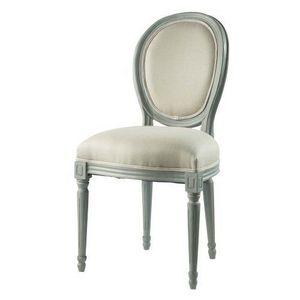 Maisons du monde - chaise grise lin louis - Chaise Médaillon