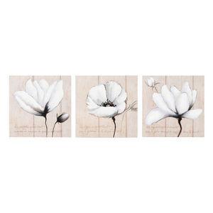 Maisons du monde - kit 3 toiles fleurs poétiques - Tableau Décoratif
