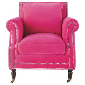 Maisons du monde - fauteuil velours fuchsia dandy - Fauteuil