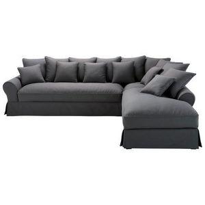 Maisons du monde - canapé angle 6 places fixe coton gris ardoise bast - Canapé D'angle