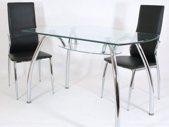 CLEAR SEAT - table en verre spider 120 x 70 cm avec tablette - Table De Repas Rectangulaire