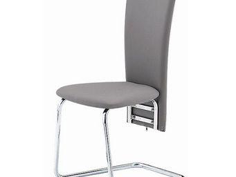 CLEAR SEAT - chaises grises simili cuir tempo lot de 6 - Chaise Visiteur