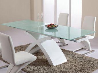CLEAR SEAT - table de salle à manger en verre blanc matrix - Table De Repas Rectangulaire